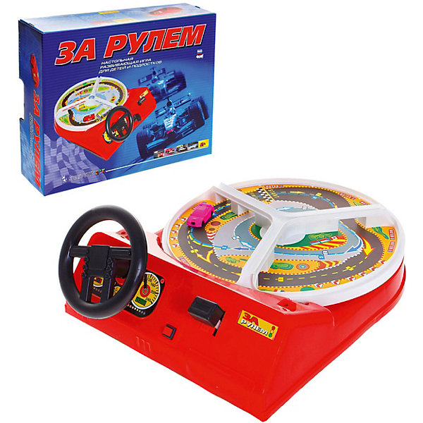 Настольная игра За рулемИнтерактивные игрушки для малышей<br>Характеристики товара:<br><br>• возраст: от 4 лет;<br>• упаковка: картонная коробка;<br>• размер: 41х34х11 см;<br>• вес: 1,6 кг;<br>• материал: пластик, металл, магнит;<br>• тип батареек: 2 x C / LR14 1.5V (малые бочонки);<br>• бренд: Омский Завод Электротоваров.<br><br>Данный набор «За рулем» от Омского Завода Электротоваров – увлекательная развивающая игрушка для детей, знакомая взрослым с малых лет. Игровой симулятор вождения помогает развивать моторику и концентрацию внимания.<br><br>На маленькой дороге размещается магнитная машинка, которая начинает движение после поворота ключа зажигания. Игровое поле крутится и игроку следует крутить руль, чтобы машинка избегала препятствия и вписывалась в повороты. Также у игры есть несколько скоростных режимов.<br><br>Настольная игра выполнена из качественных материалов, в комплект набора входит игровое поле, машинка и липкая аппликация. Батарейки и в комплект не входят.<br><br>Игру «За рулём» можно купить в нашем интернет-магазине.<br>Ширина мм: 443; Глубина мм: 345; Высота мм: 115; Вес г: 1600; Возраст от месяцев: 48; Возраст до месяцев: 120; Пол: Унисекс; Возраст: Детский; SKU: 7766969;