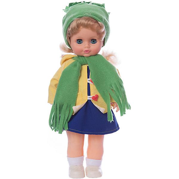 Кукла Инна 22 со звуковым устройством 43 см  (Россия)Куклы<br>Характеристики товара:<br><br>• возраст: от 3 лет;<br>• упаковка: туба;<br>• размер: 13х21х48 см;<br>• высота куклы: 43 см;<br>• вес: 550 г;<br>• материал: пластик, нейлон, текстиль, винил;<br>• бренд: Весна.<br><br>Кукла Инна со звуковым устройством от российского бренда «Весна» приглашает каждую девочку поиграть с собой. Особенность куклы состоит в том, что она может произносить несколько фраз. Это разнообразит сюжетно-ролевые игры ребенка и позволит кукле стать лучшей подружкой малышки.<br><br>У Инны очень милое личико с красивыми зелеными глазами, пухлыми губами и длинными ресницами. Светлые волосы выполнены из качественного нейлона, хорошо прошиты, что дает возможность не только расчесывать куклу, но и завивать ей пряди.<br><br>Одета Инна модно: на ней водолазка, джинсовый сарафанчик, ветровка с капюшоном, флисовая шапочка и шарфик. На ногах у куклы носочки и ботинки со шнуровкой. Весь образ Инны создает осеннее настроение.<br><br>Куклу Инну со звуковым устройством можно купить в нашем интернет-магазине.<br>Ширина мм: 130; Глубина мм: 210; Высота мм: 480; Вес г: 550; Возраст от месяцев: 36; Возраст до месяцев: 120; Пол: Женский; Возраст: Детский; SKU: 7766975;