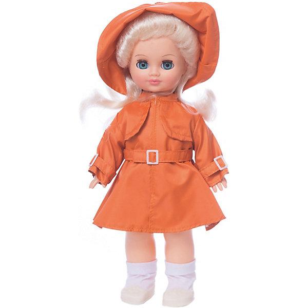 Кукла Весна Олеся 4 озвученная, 35 смКуклы<br>Характеристики товара:<br><br>• возраст: от 3 лет;<br>• размер: 42х17х10 см;<br>• высота куклы: 35,5 см;<br>• вес: 350 г;<br>• материал: пластик, текстиль;<br>• бренд: Весна.<br><br>Кукла Олеся со звуковым устройством от российского бренда «Весна» приглашает каждую девочку поиграть с собой. Особенность куклы состоит в том, что она может произносить несколько фраз. Это разнообразит сюжетно-ролевые игры ребенка и позволит кукле стать лучшей подружкой малышки.<br><br>У Олеси очень милое личико с красивыми голубыми глазами, пухлыми губами и длинными ресницами. Светлые волосы убраны в хвостики, выполнены из качественного нейлона, хорошо прошиты, что дает возможность не только расчесывать куклу, но и завивать ей пряди.<br><br>На Олесе стильный оранжевый плащ и шляпка в цвет. На ножках у куклы носочки и серебристые туфельки. Весь образ напоминает о славных осенних деньках.<br><br><br>Куклу Олесю можно купить в нашем интернет-магазине.<br>Ширина мм: 100; Глубина мм: 170; Высота мм: 420; Вес г: 350; Возраст от месяцев: 36; Возраст до месяцев: 120; Пол: Женский; Возраст: Детский; SKU: 7766977;