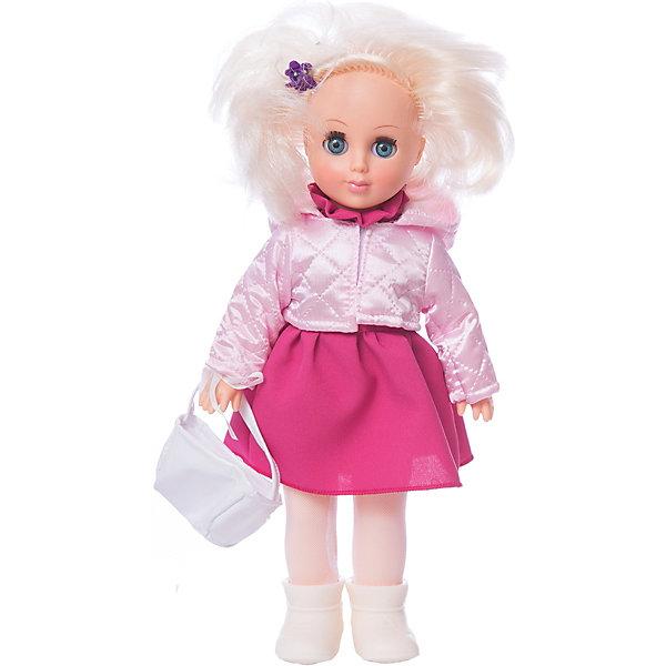 Кукла Весна Алла 7, 35 см.Куклы<br>Характеристики товара:<br><br>• возраст: от 3 лет;<br>• размер: 10х17х42 см;<br>• высота куклы: 35 см;<br>• вес: 360 г;<br>• материал: пластик, текстиль;<br>• бренд: Весна.<br><br><br>Кукла Алла от российского бренда «Весна» приглашает каждую девочку поиграть с собой. Она разнообразит сюжетно-ролевые игры ребенка и сможет кукле стать лучшей подружкой малышки.<br><br>У Аллы очень милое личико с красивыми зелеными глазами, пухлыми губами и длинными ресницами. Светлые волосы выполнены из качественного нейлона, хорошо прошиты, что дает возможность не только расчесывать куклу, но и завивать ей пряди.<br><br>На Алле надето синее однотонное платьице и белая весенняя курточка. На ногах у куклы белые колготки и сапожки, а в руках модная сумочка в тон куртке. Дополняет образ синяя заколочка на челке куклы. Весь образ напоминает о беззаботных весенних деньках.<br><br>Куклу Аллу можно купить в нашем интернет-магазине.<br>Ширина мм: 100; Глубина мм: 170; Высота мм: 420; Вес г: 360; Возраст от месяцев: 36; Возраст до месяцев: 120; Пол: Женский; Возраст: Детский; SKU: 7766999;