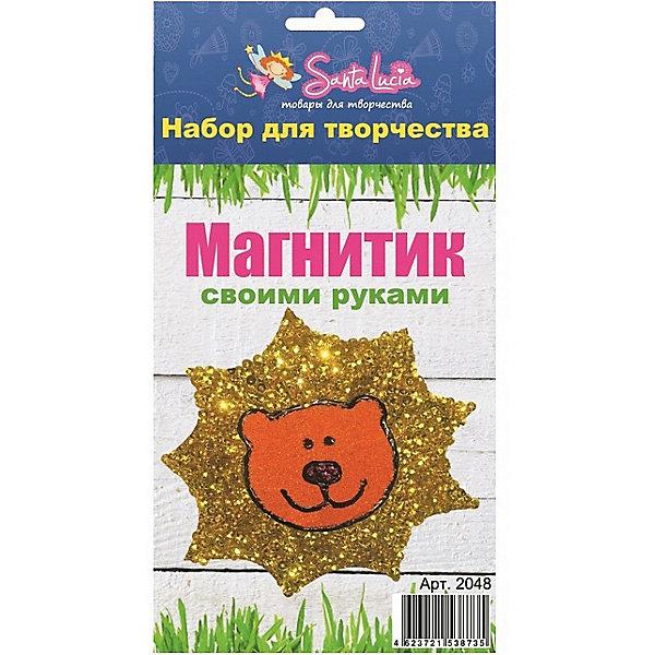 Набор для создания магнита ЛьвенокКартины из песка<br>Характеристики:<br><br>• тип игрушки: набор;<br>• возраст: от 5 лет;<br>• материал: клей, магнит, песок;<br>• комплектация:  заготовка, клей, магнит, цветной песок, пайетки;<br>• вес: 100 гр;<br>• размер: 20х13х0,3 см;<br>• бренд: Санта-Лючия.<br><br>Набор для создания магнита «Львенок»  позволит ребенку от 5 лет создать самому оригинальный магнит своими руками. Возьмите заготовку, нанесите клей и украсьте разноцветными пайетками. Приклейте магнит с обратной стороны. Вы получите не только радужные магниты, но и отличное настроение. В наборе: заготовка, клей, магнит, цветной песок, пайетки.<br><br>Набор для создания магнита «Львенок» можно купить в нашем интернет-магазине.<br>Ширина мм: 130; Глубина мм: 3; Высота мм: 200; Вес г: 100; Цвет: разноцветный; Возраст от месяцев: 5; Возраст до месяцев: 2147483647; Пол: Унисекс; Возраст: Детский; SKU: 7769355;