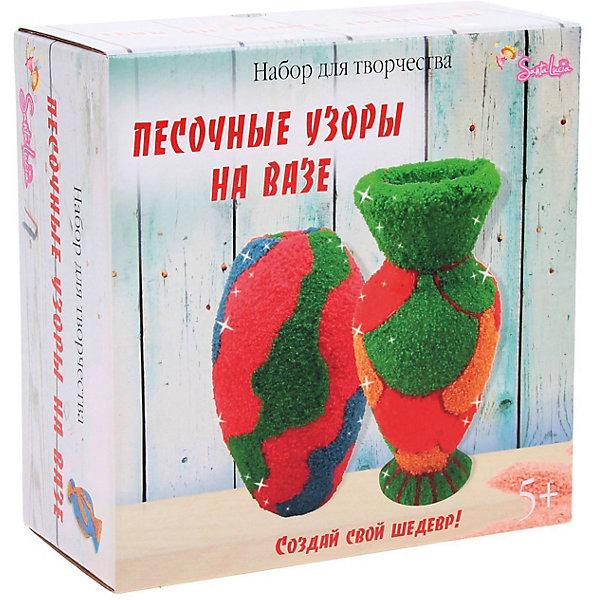 Песочные узоры на вазеНаборы для декора<br>Характеристики:<br><br>• тип игрушки: набор;<br>• возраст: от 5 лет;<br>• материал: клей, керамика;<br>• комплектация:  ваза керамическая-2 шт, цветной песок-6 цв, клей, контур, инструкция;<br>• вес: 700 гр;<br>• размер: 20х20х9 см;<br>• бренд: Санта-Лючия.<br>   <br>Набор «Песочные узоры на вазе» порадует любого ребенка. Глиняные вазы, созданные по вашему дизайну, станут отличным украшением интерьера! Возьмите песок, клей, глиттер и превратите вазы в неповторимые произведения искусства. Образцы дизайна вы найдете на упаковке или можете придумать свои.<br><br>Керамические вазы плотно упакованы в картонный ложемент, что исключает возможность случайной порчи при транспортировки и продажах. Высокий ценовой сегмент обусловлен наличием двух ваз сделанных  вручную. Дизайн коробки служит отличным подарком. Набор показывает высокую оборачиваемость.<br><br>Набор «Песочные узоры на вазе» можно купить в нашем интернет-магазине.<br>Ширина мм: 200; Глубина мм: 90; Высота мм: 200; Вес г: 700; Цвет: разноцветный; Возраст от месяцев: 5; Возраст до месяцев: 2147483647; Пол: Унисекс; Возраст: Детский; SKU: 7769401;