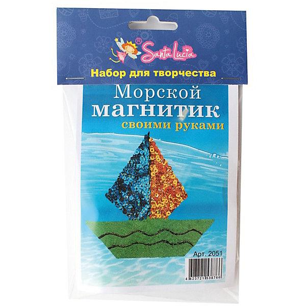 Набор для создания магнита ПарусникКартины из песка<br>Характеристики:<br><br>• тип игрушки: набор;<br>• возраст: от 5 лет;<br>• материал: клей, магнит, песок;<br>• комплектация:  заготовка, клей, магнит, цветной песок, пайетки;<br>• вес: 100 гр;<br>• размер: 20х13х0,3 см;<br>• бренд: Санта-Лючия.<br><br>Набор для создания магнита «Парусник»  позволит ребенку от 5 лет создать самому оригинальный магнит своими руками. Возьмите заготовку, нанесите клей и украсьте разноцветными пайетками. Приклейте магнит с обратной стороны. Вы получите не только радужные магниты, но и отличное настроение. В наборе: заготовка, клей, магнит, цветной песок, пайетки.<br><br>Набор для создания магнита «Парусник» можно купить в нашем интернет-магазине.<br>Ширина мм: 130; Глубина мм: 3; Высота мм: 200; Вес г: 100; Цвет: разноцветный; Возраст от месяцев: 5; Возраст до месяцев: 2147483647; Пол: Унисекс; Возраст: Детский; SKU: 7769411;