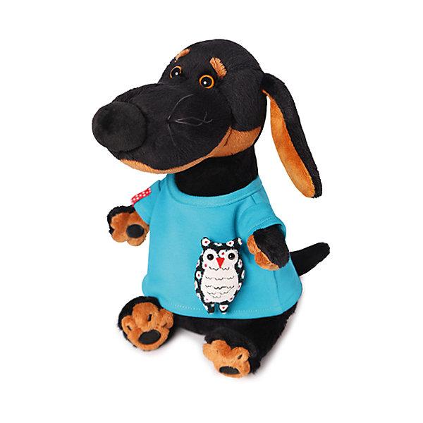 Купить Мягкая игрушка Budi Basa Собака Ваксон в футболке с совой, 25 см, Россия, черный, Унисекс
