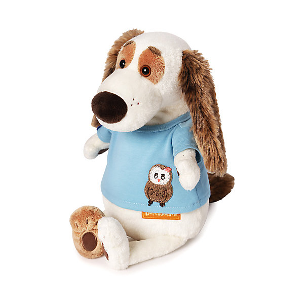 Купить Мягкая игрушка Budi Basa Собака Бартоломей в футболке с совой, 27 см, Россия, белый, Унисекс