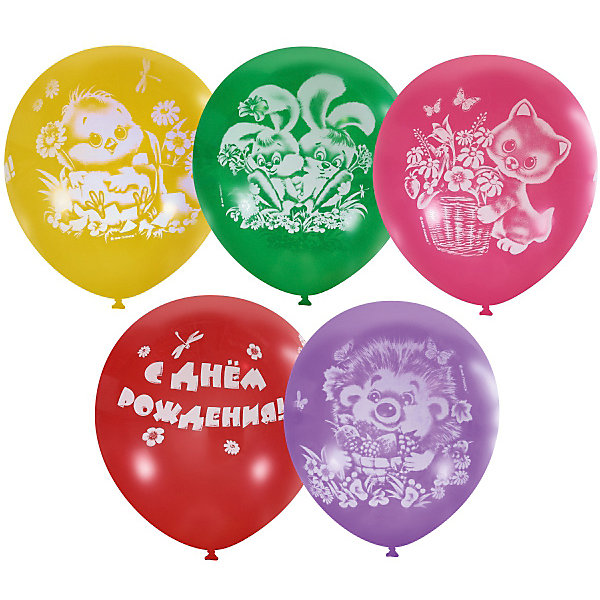 Купить Воздушные шары Latex Occidental С днём рождения. Детский 25 шт., пастель + декоратор, Мексика, Унисекс