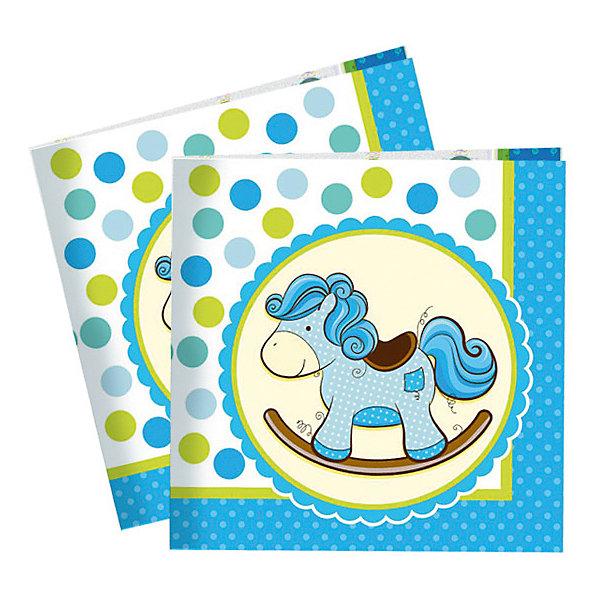 Купить Салфетки Патибум Лошадка. Малыш 20 шт., 33х33 см, голубые, Китай, Мужской