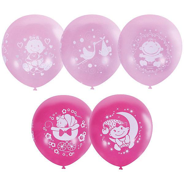 Купить Воздушные шары Latex Occidental С днём рождения. Малышка розовые 25 шт., пастель + декоратор (шёлк), Мексика, Женский