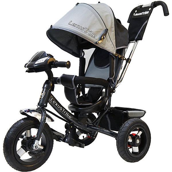 Трехколесный велосипед Lexus Trike  с надувными шинами 12 и 10Велосипеды детские<br>Характеристики товара:<br><br>• возраст: от 1,5 лет;<br>• материал: пластик, металл, текстиль;<br>• диаметр переднего колеса: 30 см;<br>• диаметр задних колес: 25 см;<br>• тип колес: резиновые надувные;<br>• регулируемая спинка в 3 положениях;<br>• ремни безопасности;<br>• подставки для ножек;<br>• родительская ручка-толкатель;<br>• солнцезащитный козырек;<br>• ножной тормоз;<br>• функция «свободное колесо»;<br>• музыкальная панель;<br>• размер упаковки: 112х100х55 см;<br>• вес упаковки: 10,5 кг.<br><br>Трехколесный велосипед Lexus Trike серый — удобное средство передвижения для малышей от 1,5 лет. Он оснащен ручкой для родителей, при помощи которой они могут возить малыша самостоятельно, пока он мал. Как только он подрастет, ребенок сможет кататься как на обычном велосипеде.<br><br>У велосипеда большие надувные колеса, которые отличаются хорошей проходимостью и позволяют сглаживать неровности на дороге и избежать тряски. В сидении за безопасность отвечают ремешки безопасности и бампер. Спинка регулируется, что позволит подобрать для малыша положение для отдыха. <br><br>Солнцезащитный тент закроет ребенка от опасных солнечных лучей. На тенте есть фиксаторы положения, его высота регулируется. На родительской ручке расположена небольшая сумочка для мелочей, а сзади за сидением багажная корзина для вещей или игрушек. <br><br>На руле расположена музыкальная панель, которая сделает катание намного интересней. Она активирует световые и звуковые эффекты, проигрывает 3 песенки из мультфильмов и мелодию автомобиля.<br><br>Трехколесный велосипед Lexus Trike серый можно приобрести в нашем интернет-магазине.<br>Ширина мм: 1000; Глубина мм: 550; Высота мм: 1120; Вес г: 10500; Цвет: серый; Возраст от месяцев: 18; Возраст до месяцев: 36; Пол: Унисекс; Возраст: Детский; SKU: 7771739;