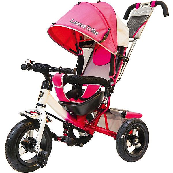Трехколесный велосипед Lexus Trike с надувными шинами 12 и 10Велосипеды детские<br>Характеристики товара:<br><br>• возраст: от 1,5 лет;<br>• материал: пластик, металл, текстиль;<br>• диаметр переднего колеса: 30 см;<br>• диаметр задних колес: 25 см;<br>• тип колес: резиновые надувные;<br>• регулируемая спинка в 3 положениях;<br>• ремни безопасности;<br>• подставки для ножек;<br>• родительская ручка-толкатель;<br>• солнцезащитный козырек;<br>• ножной тормоз;<br>• функция «свободное колесо»;<br>• размер упаковки: 120х96х52 см;<br>• вес упаковки: 10,5 кг.<br><br>Трехколесный велосипед Lexus Trike розовый — удобное средство передвижения для малышей от 1,5 лет. Он оснащен ручкой для родителей, при помощи которой они могут возить малыша самостоятельно, пока он мал. Как только он подрастет, ребенок сможет кататься как на обычном велосипеде.<br><br>У велосипеда большие надувные колеса, которые отличаются хорошей проходимостью и позволяют сглаживать неровности на дороге и избежать тряски. В сидении за безопасность отвечают ремешки безопасности и бампер. Спинка регулируется, что позволит подобрать для малыша положение для отдыха. <br><br>Солнцезащитный тент закроет ребенка от опасных солнечных лучей. На тенте есть фиксаторы положения, его высота регулируется. На родительской ручке расположена небольшая сумочка для мелочей, а сзади за сидением багажная корзина для вещей или игрушек. <br><br>Трехколесный велосипед Lexus Trike розовый можно приобрести в нашем интернет-магазине.<br>Ширина мм: 1200; Глубина мм: 520; Высота мм: 960; Вес г: 10500; Цвет: розовый; Возраст от месяцев: 18; Возраст до месяцев: 36; Пол: Унисекс; Возраст: Детский; SKU: 7771741;