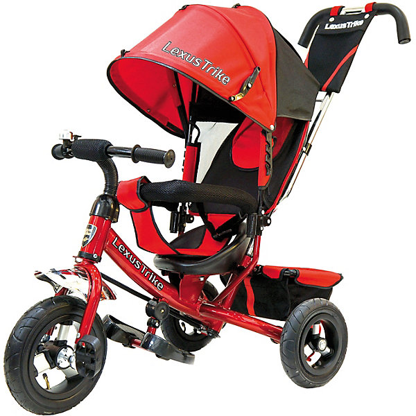 Трехколесный велосипед Lexus Trike  с надувными шинами 10 и 8Велосипеды и аксессуары<br>Характеристики товара:<br><br>• возраст: от 1,5 лет;<br>• материал: пластик, металл, текстиль;<br>• диаметр переднего колеса: 25 см;<br>• диаметр задних колес: 20 см;<br>• тип колес: резиновые надувные;<br>• регулируемая спинка в 3 положениях;<br>• ремни безопасности;<br>• подставки для ножек;<br>• родительская ручка-толкатель;<br>• солнцезащитный козырек;<br>• ножной тормоз;<br>• размер упаковки: 115х100х50 см;<br>• вес упаковки: 10,5 кг.<br><br>Трехколесный велосипед Lexus Trike красный — удобное средство передвижения для малышей от 1,5 лет. Он оснащен ручкой для родителей, при помощи которой они могут возить малыша самостоятельно, пока он мал. Как только он подрастет, ребенок сможет кататься как на обычном велосипеде.<br><br>У велосипеда большие надувные колеса, которые отличаются хорошей проходимостью и позволяют сглаживать неровности на дороге и избежать тряски. В сидении за безопасность отвечают ремешки безопасности и бампер. Спинка регулируется, что позволит подобрать для малыша положение для отдыха. <br><br>Солнцезащитный тент закроет ребенка от опасных солнечных лучей. На тенте есть фиксаторы положения, его высота регулируется. На родительской ручке расположена небольшая сумочка для мелочей, а сзади за сидением багажная корзина для вещей или игрушек. <br><br>Трехколесный велосипед Lexus Trike красный можно приобрести в нашем интернет-магазине.<br>Ширина мм: 1150; Глубина мм: 500; Высота мм: 1000; Вес г: 10500; Цвет: красный; Возраст от месяцев: 18; Возраст до месяцев: 36; Пол: Унисекс; Возраст: Детский; SKU: 7771745;