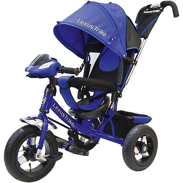 Трехколесный велосипед Lexus Trike  с надувными шинами 12 и 10Велосипеды детские<br>Характеристики товара:<br><br>• возраст: от 1,5 лет;<br>• материал: пластик, металл, текстиль;<br>• диаметр переднего колеса: 30 см;<br>• диаметр задних колес: 25 см;<br>• тип колес: резиновые надувные;<br>• регулируемая спинка в 3 положениях;<br>• ремни безопасности;<br>• подставки для ножек;<br>• родительская ручка-толкатель;<br>• солнцезащитный козырек;<br>• ножной тормоз;<br>• функция «свободное колесо»;<br>• музыкальная панель;<br>• размер упаковки: 112х100х55 см;<br>• вес упаковки: 10,5 кг.<br><br>Трехколесный велосипед Lexus Trike синий — удобное средство передвижения для малышей от 1,5 лет. Он оснащен ручкой для родителей, при помощи которой они могут возить малыша самостоятельно, пока он мал. Как только он подрастет, ребенок сможет кататься как на обычном велосипеде.<br><br>У велосипеда большие надувные колеса, которые отличаются хорошей проходимостью и позволяют сглаживать неровности на дороге и избежать тряски. В сидении за безопасность отвечают ремешки безопасности и бампер. Спинка регулируется, что позволит подобрать для малыша положение для отдыха. <br><br>Солнцезащитный тент закроет ребенка от опасных солнечных лучей. На тенте есть фиксаторы положения, его высота регулируется. На родительской ручке расположена небольшая сумочка для мелочей, а сзади за сидением багажная корзина для вещей или игрушек. <br><br>На руле расположена музыкальная панель, которая сделает катание намного интересней. Она активирует световые и звуковые эффекты, проигрывает 3 песенки из мультфильмов и мелодию автомобиля.<br><br>Трехколесный велосипед Lexus Trike синий можно приобрести в нашем интернет-магазине.<br>Ширина мм: 1000; Глубина мм: 550; Высота мм: 1120; Вес г: 10500; Цвет: фиолетовый; Возраст от месяцев: 18; Возраст до месяцев: 36; Пол: Унисекс; Возраст: Детский; SKU: 7771747;