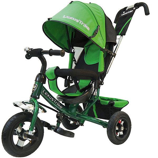 Трехколесный велосипед Lexus Trike с надувными шинами 10и 8Велосипеды детские<br>Характеристики товара:<br><br>• возраст: от 1,5 лет;<br>• материал: пластик, металл, текстиль;<br>• диаметр переднего колеса: 25 см;<br>• диаметр задних колес: 20 см;<br>• тип колес: резиновые надувные;<br>• регулируемая спинка в 3 положениях;<br>• ремни безопасности;<br>• подставки для ножек;<br>• родительская ручка-толкатель;<br>• солнцезащитный козырек;<br>• ножной тормоз;<br>• размер упаковки: 115х100х50 см;<br>• вес упаковки: 10,5 кг.<br><br>Трехколесный велосипед Lexus Trike зеленый — удобное средство передвижения для малышей от 1,5 лет. Он оснащен ручкой для родителей, при помощи которой они могут возить малыша самостоятельно, пока он мал. Как только он подрастет, ребенок сможет кататься как на обычном велосипеде.<br><br>У велосипеда большие надувные колеса, которые отличаются хорошей проходимостью и позволяют сглаживать неровности на дороге и избежать тряски. В сидении за безопасность отвечают ремешки безопасности и бампер. Спинка регулируется, что позволит подобрать для малыша положение для отдыха. <br><br>Солнцезащитный тент закроет ребенка от опасных солнечных лучей. На тенте есть фиксаторы положения, его высота регулируется. На родительской ручке расположена небольшая сумочка для мелочей, а сзади за сидением багажная корзина для вещей или игрушек. <br><br>Трехколесный велосипед Lexus Trike зеленый можно приобрести в нашем интернет-магазине.<br>Ширина мм: 1000; Глубина мм: 1150; Высота мм: 500; Вес г: 10500; Цвет: зеленый; Возраст от месяцев: 18; Возраст до месяцев: 36; Пол: Унисекс; Возраст: Детский; SKU: 7771751;