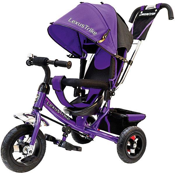 Трехколесный велосипед Lexus Trike с надувными шинами 10 и 8Велосипеды и аксессуары<br>Характеристики товара:<br><br>• возраст: от 1,5 лет;<br>• материал: пластик, металл, текстиль;<br>• диаметр переднего колеса: 25 см;<br>• диаметр задних колес: 20 см;<br>• тип колес: резиновые надувные;<br>• регулируемая спинка в 3 положениях;<br>• ремни безопасности;<br>• подставки для ножек;<br>• родительская ручка-толкатель;<br>• солнцезащитный козырек;<br>• ножной тормоз;<br>• размер упаковки: 115х100х50 см;<br>• вес упаковки: 10,5 кг.<br><br>Трехколесный велосипед Lexus Trike фиолетовый — удобное средство передвижения для малышей от 1,5 лет. Он оснащен ручкой для родителей, при помощи которой они могут возить малыша самостоятельно, пока он мал. Как только он подрастет, ребенок сможет кататься как на обычном велосипеде.<br><br>У велосипеда большие надувные колеса, которые отличаются хорошей проходимостью и позволяют сглаживать неровности на дороге и избежать тряски. В сидении за безопасность отвечают ремешки безопасности и бампер. Спинка регулируется, что позволит подобрать для малыша положение для отдыха. <br><br>Солнцезащитный тент закроет ребенка от опасных солнечных лучей. На тенте есть фиксаторы положения, его высота регулируется. На родительской ручке расположена небольшая сумочка для мелочей, а сзади за сидением багажная корзина для вещей или игрушек. <br><br>Трехколесный велосипед Lexus Trike фиолетовый можно приобрести в нашем интернет-магазине.<br>Ширина мм: 1000; Глубина мм: 1150; Высота мм: 500; Вес г: 10500; Цвет: лиловый; Возраст от месяцев: 18; Возраст до месяцев: 36; Пол: Унисекс; Возраст: Детский; SKU: 7771753;