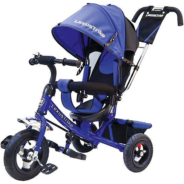 Трехколесный велосипед Lexus Trike  с надувными шинами 10 и 8Велосипеды детские<br>Характеристики товара:<br><br>• возраст: от 1,5 лет;<br>• материал: пластик, металл, текстиль;<br>• диаметр переднего колеса: 25 см;<br>• диаметр задних колес: 20 см;<br>• тип колес: резиновые надувные;<br>• регулируемая спинка в 3 положениях;<br>• ремни безопасности;<br>• подставки для ножек;<br>• родительская ручка-толкатель;<br>• солнцезащитный козырек;<br>• ножной тормоз;<br>• размер упаковки: 115х100х50 см;<br>• вес упаковки: 10,5 кг.<br><br>Трехколесный велосипед Lexus Trike синий — удобное средство передвижения для малышей от 1,5 лет. Он оснащен ручкой для родителей, при помощи которой они могут возить малыша самостоятельно, пока он мал. Как только он подрастет, ребенок сможет кататься как на обычном велосипеде.<br><br>У велосипеда большие надувные колеса, которые отличаются хорошей проходимостью и позволяют сглаживать неровности на дороге и избежать тряски. В сидении за безопасность отвечают ремешки безопасности и бампер. Спинка регулируется, что позволит подобрать для малыша положение для отдыха. <br><br>Солнцезащитный тент закроет ребенка от опасных солнечных лучей. На тенте есть фиксаторы положения, его высота регулируется. На родительской ручке расположена небольшая сумочка для мелочей, а сзади за сидением багажная корзина для вещей или игрушек. <br><br>Трехколесный велосипед Lexus Trike синий можно приобрести в нашем интернет-магазине.<br>Ширина мм: 1150; Глубина мм: 500; Высота мм: 1000; Вес г: 10500; Цвет: фиолетовый; Возраст от месяцев: 18; Возраст до месяцев: 36; Пол: Унисекс; Возраст: Детский; SKU: 7771761;