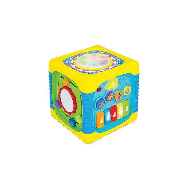 Развивающий музыкальный кубик WinFunРазвивающие центры<br>Характеристики товара:<br><br>• возраст: от 8 месяцев;<br>• материал: пластик;<br>• тип батареек: 3 батарейки АА;<br>• наличие батареек: в комплекте;<br>• размер упаковки: 30х24х22 см;<br>• вес упаковки: 1,26 кг;<br>• страна бренда: Китай.<br><br>Развивающий музыкальный кубик WinFun — развивающая игрушка для малышей от 8 месяцев. На гранях кубика расположены различные развивающие элементы: сортер, шестеренки, барабан, пианино с клавишами. Игрушка оснащена световыми и звуковыми эффектами. Во время игры горят кнопочки, а также проигрываются мелодии и звуки животных. Кубик способствует развитию мелкой моторики рук, сенсорного и цветового восприятия, логического мышления.<br><br>Развивающий музыкальный кубик WinFun можно приобрести в нашем интернет-магазине.<br>Ширина мм: 300; Глубина мм: 240; Высота мм: 220; Вес г: 1268; Возраст от месяцев: 8; Возраст до месяцев: 2147483647; Пол: Унисекс; Возраст: Детский; SKU: 7771971;