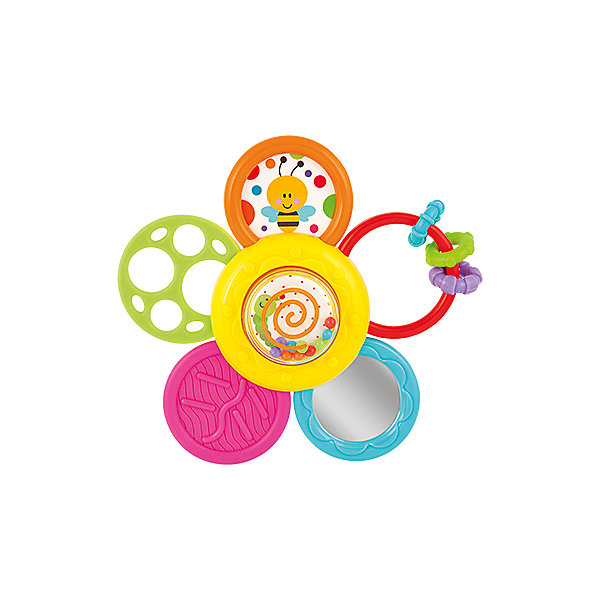 Погремушка-прорезыватель WinFun «Ромашка»Игрушки для новорожденных<br>Характеристики товара:<br><br>• возраст: от 6 месяцев;<br>• материал: пластик;<br>• размер упаковки: 19,3х17х2,5 см;<br>• вес упаковки: 132 гр.;<br>• страна бренда: Китай.<br><br>Погремушка-прорезыватель WinFun «Ромашка» выполнена в виде цветка. На игрушке расположены несколько развивающих элементов: пищалка, погремушка, колечки, прорезыватель. Цветок вращается. При помощи присоски игрушка крепится на поверхность.<br><br>Погремушку-прорезыватель WinFun «Ромашка» можно приобрести в нашем интернет-магазине.<br>Ширина мм: 170; Глубина мм: 193; Высота мм: 25; Вес г: 132; Возраст от месяцев: 6; Возраст до месяцев: 2147483647; Пол: Унисекс; Возраст: Детский; SKU: 7771981;
