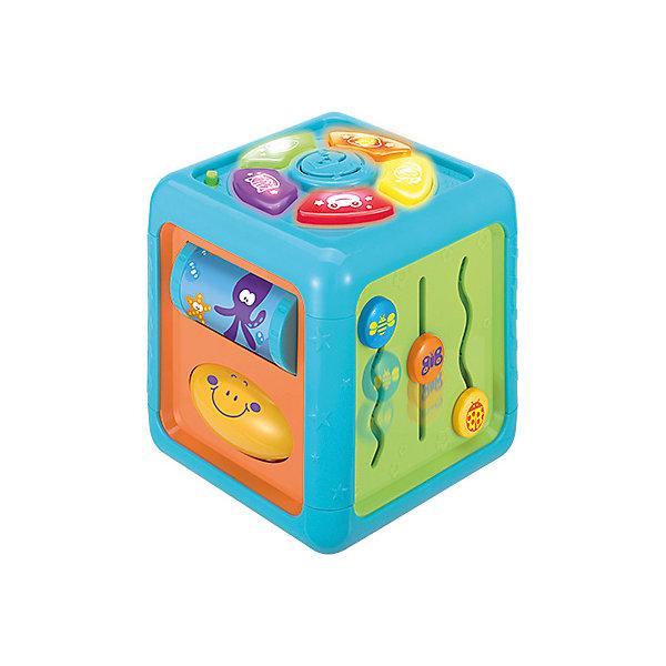 Многосторонний познавательный кубик WinFunРазвивающие центры<br>Характеристики товара:<br><br>• возраст: от 6 месяцев;<br>• материал: пластик;<br>• тип батареек: 3 батарейки АА;<br>• наличие батареек: в комплекте;<br>• размер упаковки: 19,4х18,2х18,2 см;<br>• вес упаковки: 600 гр.;<br>• страна бренда: Китай.<br><br>Многосторонний познавательный кубик WinFun — развивающая игрушка для малышей от 6 месяцев. На гранях кубика расположены различные развивающие элементы: вращающиеся погремушки, диски, валики, книжка с перекидными страницами. Игрушка оснащена световыми и звуковыми эффектами. <br><br>Во время игры горят кнопочки, а также проигрываются мелодии и звуки животных. Кубик способствует развитию мелкой моторики рук, сенсорного и цветового восприятия, логического мышления.<br><br>Многосторонний познавательный кубик WinFun можно приобрести в нашем интернет-магазине.<br>Ширина мм: 194; Глубина мм: 182; Высота мм: 187; Вес г: 600; Возраст от месяцев: 6; Возраст до месяцев: 2147483647; Пол: Унисекс; Возраст: Детский; SKU: 7771983;