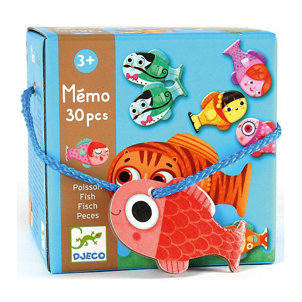 Мемо DjecoРыбкиИгры мемо<br>Характеристики товара:<br><br>• возраст: от 1 года;<br>• количество деталей: 30 шт;<br>• материал: бумага;<br>• размер упаковки: 12х12х12 см;<br>• вес упаковки: 300 гр.;<br>• страна бренда: Франция.<br><br>Djeco Игра – мемо «Рыбки» это оригинальная игра на развитие памяти и внимательности.<br>Перед началом игры все рыбки перемешиваются и переворачиваются рисунком вниз, затем первый игрок открывает две фишки, если пара совпадает, то игрок забирает себе эту пару рыбок, а если нет, то рыбки остаются на месте и переворачиваются обратно - рисунком вниз. Тот, кто соберет больше всех одинаковых пар, становится победителем.<br><br>Djeco Игра – мемо «Рыбки» можно купить в нашем интернет-магазине.<br>Ширина мм: 120; Глубина мм: 120; Высота мм: 120; Вес г: 390; Возраст от месяцев: 36; Возраст до месяцев: 2147483647; Пол: Унисекс; Возраст: Детский; SKU: 7772021;