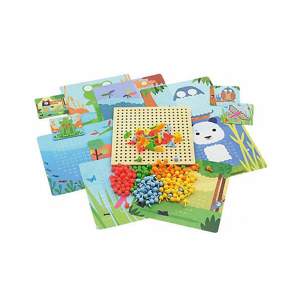 Мозайка Djeco РиголоМозаика<br>Характеристики товара:<br><br>• возраст: от 1 года;<br>• количество деталей: деревянная подложка, 8 карточек, 230 гвоздиков;<br>• материал: дерево, пластик;<br>• размер упаковки: 21х21х21 см;<br>• вес упаковки: 650 гр.;<br>• страна бренда: Франция.<br><br>Djeco Игра Мозаика Риголо станет увлекательной развивающей игрушкой для каждого малыша. В комплекте ребенок найдет деревянную основу, красочные карточки с заданиями, а также множество пластиковых гвоздиков. Ребенок должен собрать картинку согласно инструкции, в результате чего у него получатся забавная лягушка, красивая бабочка, милая панда и другие животные и насекомые. Игра прекрасно развивает фантазию и воображение ребенка, детскую моторику, логическое мышление и сообразительность.<br><br>Djeco Игра Мозаика Риголо можно купить в нашем интернет-магазине.<br>Ширина мм: 50; Глубина мм: 220; Высота мм: 220; Вес г: 770; Возраст от месяцев: 36; Возраст до месяцев: 2147483647; Пол: Унисекс; Возраст: Детский; SKU: 7772063;