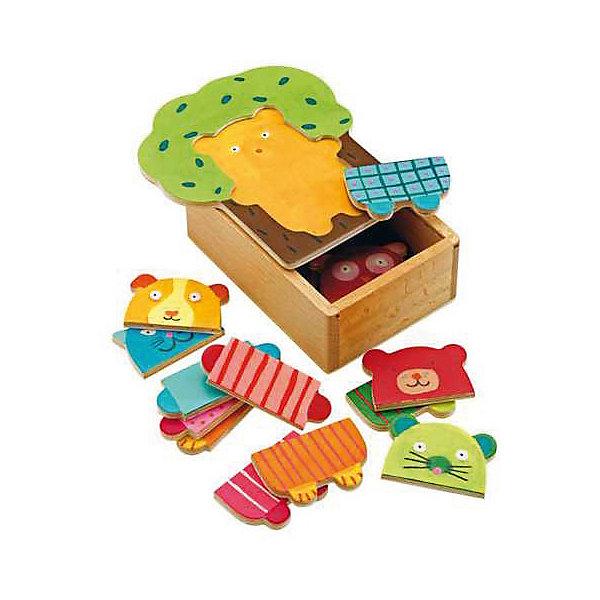 Пазл Djeco Деревянные зверюшки, 15 элементовПазлы до 24 деталей<br>Характеристики товара:<br><br>• возраст: от 2 лет;<br>• количество деталей: 15 шт;<br>• материал: дерево;<br>• размер упаковки: 13х15х6 см;<br>• вес упаковки: 500 гр.;<br>• страна бренда: Франция.<br><br>Djeco Первый пазл «Деревянные зверюшки» – это увлекательный пазл для самых маленьких. Отлично подходит для развития мелкой моторики, логики и усидчивости.<br>Детали пазла упакованы в деревянную коробочку, крышка которой имеет выемки для пазла. Можно собрать разных животных - мишку, котика, собачку, мышку и сову.<br><br>Djeco Первый пазл «Деревянные зверюшки» можно купить в нашем интернет-магазине.<br>Ширина мм: 160; Глубина мм: 130; Высота мм: 70; Вес г: 430; Возраст от месяцев: 24; Возраст до месяцев: 2147483647; Пол: Унисекс; Возраст: Детский; SKU: 7772083;