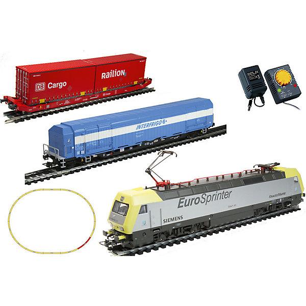 Электровоз Mehano Dispolok с вагонами T214 и T216Железные дороги<br>Характеристики:<br><br>• регулирование скорости движения ж/д состава;<br>• полный привод;<br>• обе оси ведущие – как передняя, так и задняя;<br>• рабочий металлический пантограф;<br>• световые эффекты: свет фар, габаритные огни;<br>• игрушка работает от сетевого адаптера 220 вольт;<br>• масштаб 1:87;<br>• размер ж/д полотна в собранном виде: 117,5х95,5 см;<br>• ширина колеи 16,5 мм;<br>• материал: металл;<br>• размер упаковки: 64х38,5х34,5 см.<br><br>Игрушечная железная дорога Dispolok является миниатюрной копией реальных электровоза и вагончиков. Экстерьер локомотива и вагонов тщательно проработан, есть возможность рассмотреть и изучить составляющие части транспортных средств. Все элементы комплекта совместимы с другими сборными моделями железной дороги Mehano, так что юный машинист сможет прокладывать различные маршруты, строить новые станции и придумывать неповторимый, свой собственный уникальный ландшафт. <br><br>Комплектация игрового набора Mehano «Dispolok» с вагонами T214 и T216: <br><br>• 1 локомотив Siemens, 1 вагон рефрижератор, 1 вагон платформа с 2-мя контейнерами;<br>• 11 радиальных рельс;<br>• 1 рельса контактер;<br>• 2 прямые рельсы;<br>• блок питания + контроллер;<br>• подробная инструкциями по сборке и управлению (с иллюстрациями).<br><br>Электровоз Mehano «Dispolok» с вагонами T214 и T216 можно купить в нашем интернет-магазине.<br>Ширина мм: 500; Глубина мм: 405; Высота мм: 65; Вес г: 1700; Цвет: желтый; Возраст от месяцев: 72; Возраст до месяцев: 2147483647; Пол: Унисекс; Возраст: Детский; SKU: 7772157;