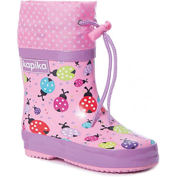 Резиновые сапоги Kapika для девочкиРезиновые сапоги<br>Характеристики товара:<br><br>• цвет: розовый<br>• материал верха: резина, текстиль<br>• внутренний материал: текстиль <br>• стелька: текстиль <br>• подошва: резина<br>• сезон: демисезон<br>• температурный режим: от +5 до +20<br>• без утеплителя<br>• застежка: утяжка<br>• непромокаемые<br>• подошва не скользит <br>• анатомические <br>• страна бренда: Россия<br><br>Яркие резиновые сапоги для детей помогут создать ногам ребенка комфортные условия, благодаря качественным материалам они отлично сидят на ноге. Продуманная конструкция резиновых сапог для ребенка способствует удобной постановке ноги. Детские резиновые сапоги могут быть красивыми и удобными. <br><br>Резиновые сапоги Kapika (Капика) для девочки можно купить в нашем интернет-магазине.<br>Ширина мм: 237; Глубина мм: 180; Высота мм: 152; Вес г: 438; Цвет: розовый; Возраст от месяцев: 18; Возраст до месяцев: 21; Пол: Женский; Возраст: Детский; Размер: 23,21,22; SKU: 7787764;