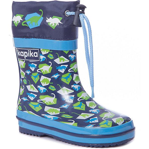 Резиновые сапоги Kapika для мальчикаРезиновые сапоги<br>Характеристики товара:<br><br>• цвет: синий<br>• материал верха: резина, текстиль<br>• внутренний материал: текстиль <br>• стелька: текстиль <br>• подошва: резина<br>• сезон: демисезон<br>• температурный режим: от +5 до +20<br>• без утеплителя<br>• застежка: утяжка<br>• непромокаемые<br>• подошва не скользит <br>• анатомические <br>• страна бренда: Россия<br><br>Практичные и удобные резиновые сапоги для детей от Kapika - отличный вариант качественной обуви по доступной цене. Детскую обувь от бренда Kapika уже успели оценить многие российские потребители, она удобная, красивая и разработанная специально для детей. Непромокаемый материал этих детских резиновых сапог делает их комфортной обувью для мокрой погоды. <br><br>Резиновые сапоги Kapika (Капика) для мальчика можно купить в нашем интернет-магазине.<br>Ширина мм: 237; Глубина мм: 180; Высота мм: 152; Вес г: 438; Цвет: синий; Возраст от месяцев: 12; Возраст до месяцев: 15; Пол: Мужской; Возраст: Детский; Размер: 21,23,22; SKU: 7787768;