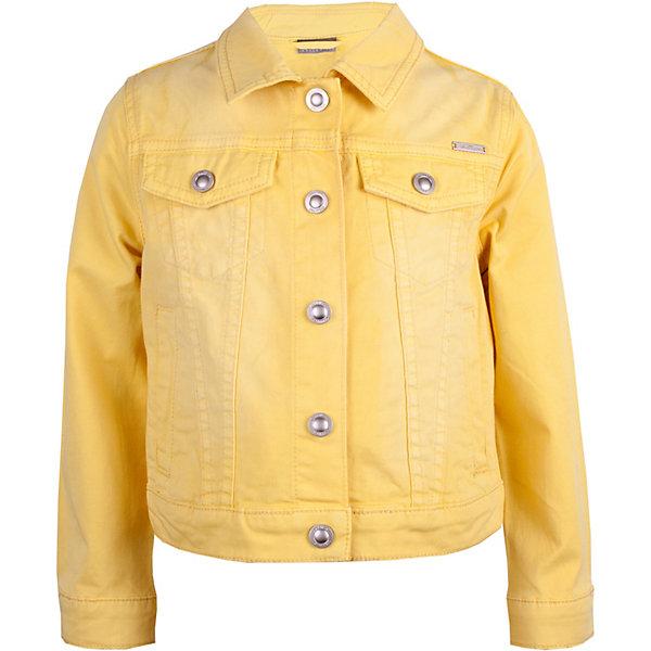 Жакет Gulliver для девочкиВерхняя одежда<br>Жакет Gulliver для девочки<br>Никто не устоит перед желтым жакетом из коллекции Морская история! Эта взрослая вещь выглядит на маленьких детях очень трогательно и нежно. Форма, конструкция, пропорции жакета абсолютно идентичны джинсовой куртке, ставшей классикой спортивного стиля! И с платьем, и с джинсами, и с шортами жакет составит отличный комплект. Если вы решили купить детский жакет девочке 2, 3, 5 лет, сделайте образ ребенка ярким, модным, интересным, ведь весна и лето - лучшее время для реализации оригинальных идей. Желтый жакет - прекрасный выбор для создания нового имиджа маленькой модницы.<br>Состав:<br>98% хлопок             2% эластан<br>Ширина мм: 356; Глубина мм: 10; Высота мм: 245; Вес г: 519; Цвет: желтый; Возраст от месяцев: 60; Возраст до месяцев: 72; Пол: Женский; Возраст: Детский; Размер: 116,98,104,110; SKU: 7788898;