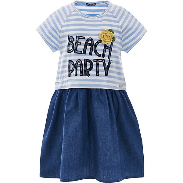 Платье Gulliver для девочкиЛетние платья и сарафаны<br>Платье Gulliver для девочки<br>Прекрасное трикотажное платье на каждый день идеально дополнит летний гардероб юной леди. Для дачного отдыха, городских прогулок и домашнего времяпрепровождения, детское платье будет незаменимо. Легкое, удобное, комфортное, это платье для девочек, построенное на комбинации мягкого трикотажа и тонкой джинсовой ткани вне времени и вне моды. Морская полоска придает модели динамику, крупный сияющий шрифтовой принт с очаровательным вязаным цветком делает платье интересным и выразительным. Если вам нужно легкое платье на каждый день, вам стоит купить детское платье из коллекции Морская история. Оно подарит бесконечный комфорт и свободу движений.<br>Состав:<br>95% хлопок      5% эластан/                  100% хлопок<br>Ширина мм: 236; Глубина мм: 16; Высота мм: 184; Вес г: 177; Цвет: синий; Возраст от месяцев: 60; Возраст до месяцев: 72; Пол: Женский; Возраст: Детский; Размер: 116,98,104,110; SKU: 7788903;