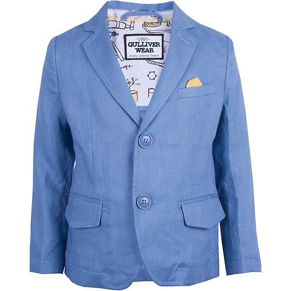 Пиджак Gulliver для мальчикаВерхняя одежда<br>Пиджак Gulliver для мальчика<br>Шикарный синий пиджак превратит любого озорника и непоседу в истинного джентльмена. Классический пиджак из 100% льна - непременный атрибут модного и элегантного детского гардероба! Идеальная форма, правильная посадка изделия на фигуре, а также красивая внутренняя обработка делают пиджак необычным и интересным. При этом, ребенок в нем будет чувствовать себя абсолютно свободно и непринужденно! Стильный пиджак для мальчика подчеркнет индивидуальность и сделает любой комплект в стиле casual элегантным, интересным и запоминающимся!<br>Состав:<br>100% лён<br>Ширина мм: 356; Глубина мм: 10; Высота мм: 245; Вес г: 519; Цвет: синий; Возраст от месяцев: 24; Возраст до месяцев: 36; Пол: Мужской; Возраст: Детский; Размер: 98,116,110,104; SKU: 7789109;