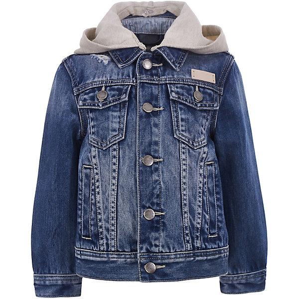 Куртка джинсовая Gulliver для мальчикаДжинсовая одежда<br>Ветровка Gulliver для мальчика<br>Эта джинсовая куртка-ветровка - настоящий шедевр! Она не оставит равнодушными ни детей, ни их родителей. Изюминка модели - трикотажный отстегивающийся капюшон, имитирующий актуальную многослойность. Джинсовая ветровка идеально дополнит собой любой весенний и летний look, создав яркий запоминающийся образ. Комфортная посадка изделия на фигуре, модные потертости и замины, оформление модели фирменной брендированной фурнитурой обеспечивают прекрасный внешний вид! Если вы решили купить детскую ветровку, джинсовая куртка-ветровка из коллекции Среда обитания - достойный выбор для стильного позитивного мальчика!<br>Состав:<br>100% хлопок<br>Ширина мм: 356; Глубина мм: 10; Высота мм: 245; Вес г: 519; Цвет: синий; Возраст от месяцев: 24; Возраст до месяцев: 36; Пол: Мужской; Возраст: Детский; Размер: 98,116,110,104; SKU: 7789211;