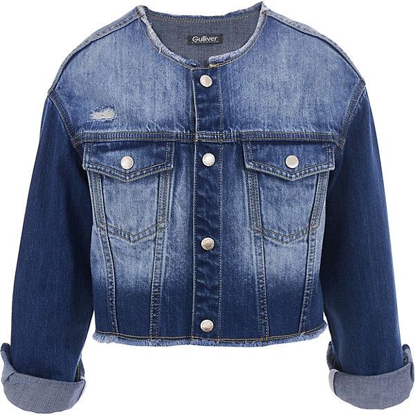 Ветровка Gulliver для девочкиДжинсовая одежда<br>Ветровка Gulliver для девочки<br>Классика стиля casual - джинсовая куртка-ветровка - модель на все случаи жизни! Она прекрасно дополнит любой образ в стиле casual, а также станет любимым атрибутом спортивного стиля! Синяя джинсовая куртка-ветровка с потертостями и варкой выполнена из 100% хлопка, что делает ее очень комфортной в носке и уходе. С любым комплектом из коллекции Мокко ветровка составит интересный ансамбль. Если вы хотите купить детскую ветровку, у джинсовой куртки-ветровки много шансов понравиться девочке! Она сделает ее образ стильным, интересным, запоминающимся.<br>Состав:<br>100% хлопок<br>Ширина мм: 356; Глубина мм: 10; Высота мм: 245; Вес г: 519; Цвет: синий; Возраст от месяцев: 72; Возраст до месяцев: 84; Пол: Женский; Возраст: Детский; Размер: 122,140,134,128; SKU: 7789314;