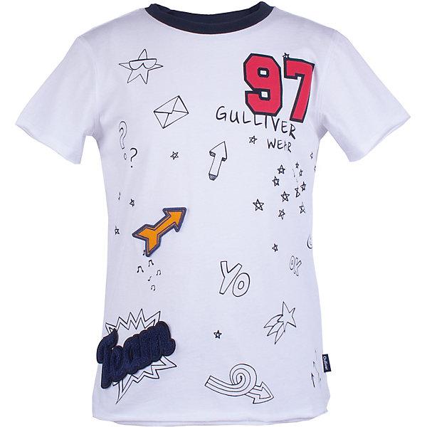 Футболка Gulliver для мальчикаФутболки, поло и топы<br>Футболка Gulliver для мальчика<br>Если вы хотите купить белую футболку с коротким рукавом для мальчика, но предпочитаете приобрести модную необычную модель и качественную брендовую вещь, которая добавит в летний гардероб ребенка свежесть и новизну, тогда эта классная белая футболка с принтом - отличный выбор! Изюминка модели - выразительный декор, выполненный в технике объемной вышивки и принта. Он создает отличное настроение и делает образ ребенка динамичным и запоминающимся.<br>Состав:<br>100% хлопок<br>Ширина мм: 199; Глубина мм: 10; Высота мм: 161; Вес г: 151; Цвет: белый; Возраст от месяцев: 72; Возраст до месяцев: 84; Пол: Мужской; Возраст: Детский; Размер: 122,140,134,128; SKU: 7789518;