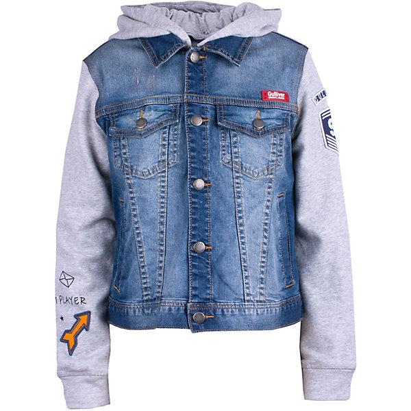 Куртка джинсовая Gulliver для мальчикаДжинсовая одежда<br>Ветровка Gulliver для мальчика<br>Хит коллекции Команда 1997 - потрясающая ветровка, построенная на комбинации двух фактур: вареной поврежденной джинсы и мягкого пластичного трикотажного футера. Увидев эту ветровку, не остается сомнений - это именно то что нужно стильному активному креативному мальчику. Ее практичность и функциональность не вызывают сомнений. Удобная комфортная ветровка с капюшоном отлично завершит образ в спортивном стиле, позволив мальчику быть самим собой. Купить детскую ветровку стоит в самом начале сезона и после долгой холодной зимы предложить ребенку новый look: джинсовую ветровку, джинсы или стильные брюки, футболку, джемпер, яркие аксессуары!<br>Состав:<br>98% хлопок       2% эластан<br>Ширина мм: 356; Глубина мм: 10; Высота мм: 245; Вес г: 519; Цвет: синий; Возраст от месяцев: 108; Возраст до месяцев: 120; Пол: Мужской; Возраст: Детский; Размер: 140,122,134,128; SKU: 7789553;