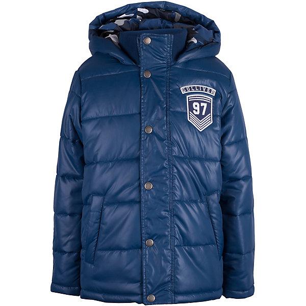 Куртка Gulliver для мальчикаВерхняя одежда<br>Куртка Gulliver для мальчика<br>Купить детскую куртку! - такую задачу ставят перед собой мамы мальчиков, отправляясь на весенний шопинг. Хорошая утепленная куртка для мальчика - вещь совершенно необходимая! Неустойчивая мартовская погода советует одеться не менее основательно, чем зимой, но весеннее настроение требует быть обновленным, стильным, современным! Модная куртка из коллекции Команда 1997 - именно то что нужно! Изюминка модели в интересном сочетании однотонной плащевой ткани верха и подкладки с камуфляжным рисунком! Модная форма, налокотники, отделка делают изделие свежим и современным.<br>Состав:<br>верх:                            100% полиэстер; подкладка:           100% хлопок; утеплитель: 100% полиэстер<br>Ширина мм: 356; Глубина мм: 10; Высота мм: 245; Вес г: 519; Цвет: темно-синий; Возраст от месяцев: 108; Возраст до месяцев: 120; Пол: Мужской; Возраст: Детский; Размер: 140,122,128,134; SKU: 7789558;