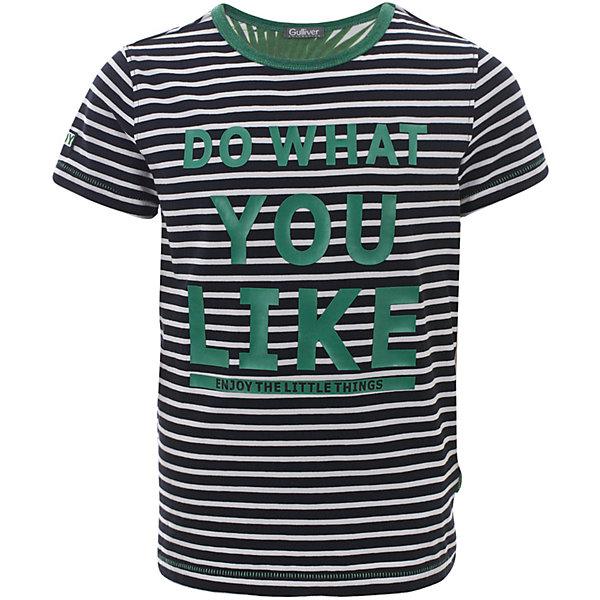 Футболка Gulliver для мальчикаФутболки, поло и топы<br>Футболка Gulliver для мальчика<br>Если вы хотите купить футболку для мальчика с коротким рукавом, которая станет украшением детского летнего гардероба, тогда эта классная полосатая футболка с крупным шрифтовым принтом - отличный выбор! Модная футболка выполнена из мягкого хлопка с эластаном. Она сделает каждый день ребенка ярким и увлекательным, подарив комфорт и свободу движений!<br>Состав:<br>95% хлопок      5% эластан<br>Ширина мм: 199; Глубина мм: 10; Высота мм: 161; Вес г: 151; Цвет: белый; Возраст от месяцев: 72; Возраст до месяцев: 84; Пол: Мужской; Возраст: Детский; Размер: 122,140,134,128; SKU: 7789646;