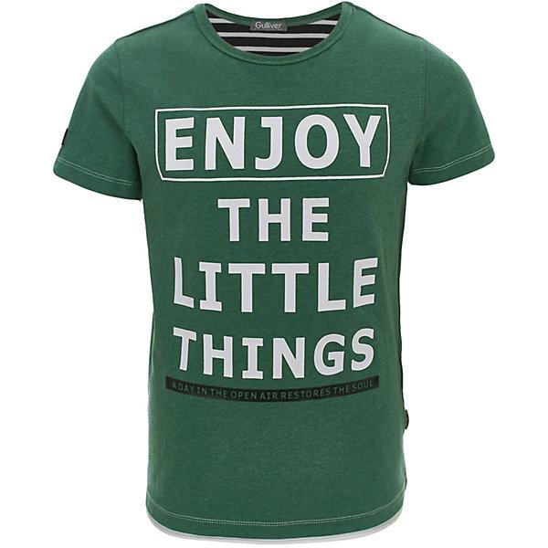Футболка Gulliver для мальчикаФутболки, поло и топы<br>Футболка Gulliver для мальчика<br>Если вы хотите купить футболку для мальчика с коротким рукавом, которая станет украшением детского летнего гардероба, тогда эта классная зеленая футболка с крупным шрифтовым принтом - отличный выбор! Модная футболка выполнена из мягкого хлопка с эластаном. Она сделает каждый день ребенка ярким и увлекательным, подарив комфорт и свободу движений!<br>Состав:<br>95% хлопок      5% эластан<br>Ширина мм: 199; Глубина мм: 10; Высота мм: 161; Вес г: 151; Цвет: зеленый; Возраст от месяцев: 72; Возраст до месяцев: 84; Пол: Мужской; Возраст: Детский; Размер: 122,140,134,128; SKU: 7789651;