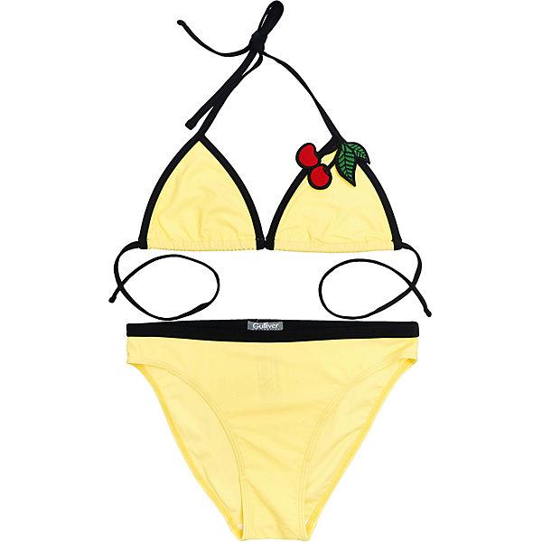Купальник Gulliver для девочкиКупальники и плавки<br>Купальник Gulliver для девочки<br>Желтый верх, черный низ! Оригинальный купальник - главная модель пляжного отдыха! Если вы планируете провести свой отпуск у моря, вам необходимо купить модный купальник для девочки-подростка. Выбор купальника - важная и ответственная задача! Он должен быть ярким, комфортным, удобным, быстро сохнуть, не стеснять движений и, главное, очень нравиться своей обладательнице! Именно такой, раздельный купальник, оформленный оригинальным декором - лучший вариант для отдыха у воды!<br>Состав:<br>верх:                 83% полиамид 17% эластан; подкладка:           100% полиэстер<br>Ширина мм: 183; Глубина мм: 60; Высота мм: 135; Вес г: 119; Цвет: желтый; Возраст от месяцев: 120; Возраст до месяцев: 132; Пол: Женский; Возраст: Детский; Размер: 146/152,158/164; SKU: 7790036;