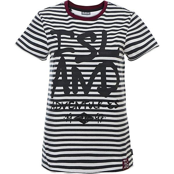 Футболка Gulliver для мальчикаФутболки, поло и топы<br>Футболка Gulliver для мальчика<br>Если вы хотите купить футболку для мальчика с коротким рукавом, которая станет украшением детского летнего гардероба, тогда эта классная полосатая футболка с крупным шрифтовым принтом - отличный выбор! Модная футболка выполнена из мягкого хлопка с эластаном. Она сделает каждый день ребенка ярким и увлекательным, подарив комфорт и свободу движений!<br>Состав:<br>95% хлопок      5% эластан<br>Ширина мм: 199; Глубина мм: 10; Высота мм: 161; Вес г: 151; Цвет: белый; Возраст от месяцев: 120; Возраст до месяцев: 132; Пол: Мужской; Возраст: Детский; Размер: 146,164,158,152; SKU: 7790170;