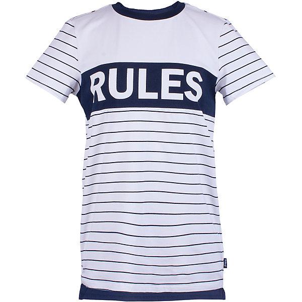 Футболка Gulliver для мальчикаФутболки, поло и топы<br>Футболка Gulliver для мальчика<br>Модная футболка с крупным динамичным принтом должна быть в летнем гардеробе подростка. Она способна повысить настроение и сделать каждый день ребенка комфортным! Белая футболка для мальчика из коллекции 3D клуб - лучший пример футболки с рисунком: крупный шрифтовой декор на контрастной полоске делает футболку стильной, необычной, запоминающейся. Если вы решили обновить летний гардероб ребенка и купить модную футболку на лето, белая футболка с коротким рукавом прекрасно дополнит любые джинсы, шорты, брюки, создав энергичный современный образ.<br>Состав:<br>95% хлопок      5% эластан<br>Ширина мм: 199; Глубина мм: 10; Высота мм: 161; Вес г: 151; Цвет: белый; Возраст от месяцев: 120; Возраст до месяцев: 132; Пол: Мужской; Возраст: Детский; Размер: 146,164,158,152; SKU: 7790259;