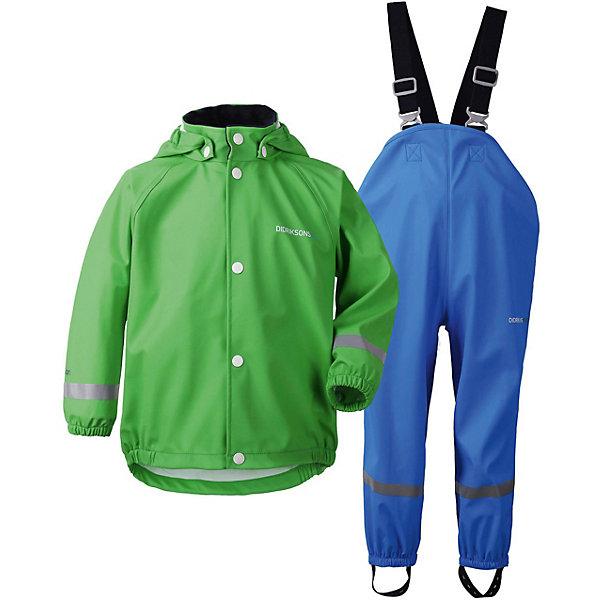 Непромокаемый комплект: куртка и брюки SLASKEMAN DIDRIKSONS1913Верхняя одежда<br>Характеристики товара:<br><br>• цвет: зеленый/синий;<br>• внешняя ткань: 100% полиуретан; <br>• подкладка: 100% полиэстер;<br>• водонепроницаемость: 8000 мм.<br>• паропроводимость: 4000 г/м2/24ч <br>• температурный режим: от 0 до +15С;<br>• сезон: демисезон;<br>• спецобработка внутренних поверхностей;<br>• полная защита  тела верхней и нижней  частей тела;<br>• 4-х-сторонний стретч, эластичный трикотаж;<br>• съемный капюшон;<br>• регулируемый  капюшон;<br>• защита для подбородка;<br>• светоотражатели;<br>• петли для ботинок;<br>• области одежды с усиленной  защитой;<br>• фронтальная молния под планкой;<br>• страна бренда: Швеция.<br><br>Водонепроницаемый  костюм «SLASKEMAN» от производителя DIDRIKSONS1913 - отличный вариант для игр на улице в дождь и слякоть, так как он сделан из специального прорезиненного материала. Такой костюм будет незаменим на даче во время ненастья. <br><br>Костюм может использоваться как самостоятельная одежда, а также в качестве защитной одежды (при температуре от 0 до +15 костюм можно одевать прямо на верхнюю одежду).  Комплект  выполнен из полиуретана, швы запаяны. Съемный капюшон, лямки брюк регулируются, предусмотрены штрипки на ботинки и светоотражающие нашивки для безопасности.<br><br>В таком комплекте ребенок может находится под дождем, не боясь промокнуть! <br><br>Костюм « SLASKEMAN» от бренда DIDRIKSONS1913 (Дидриксон1913) можно купить в нашем интернет-магазине.<br>Ширина мм: 356; Глубина мм: 10; Высота мм: 245; Вес г: 519; Цвет: светло-зеленый; Возраст от месяцев: 36; Возраст до месяцев: 48; Пол: Унисекс; Возраст: Детский; Размер: 100,90,80,70,140,130,120,110; SKU: 7797250;