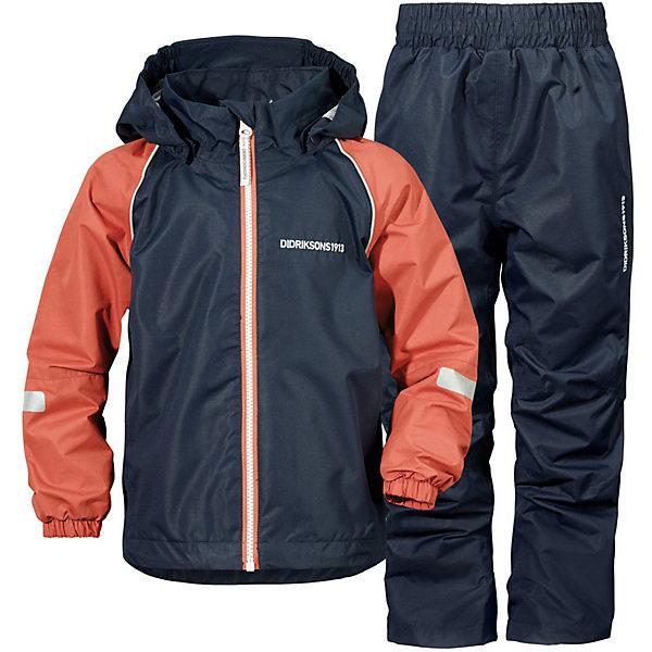 Комплект: куртка и брюки TRYSIL DIDRIKSONS1913Верхняя одежда<br>Характеристики товара:<br><br>• цвет: синий/красный;<br>• внешняя ткань: 100% Полиэстер. Пропитка - WR finish (без фторуглерода); <br>• подкладка: 100% полиэстер трикотаж;<br>• водонепроницаемость: 5000 мм.<br>• паропроводимость: 5000 г/м2/24ч <br>• температурный режим: от +5 до +20 С;<br>• сезон: демисезон;<br>• спецобработка внутренних поверхностей;<br>• полная защита  тела верхней и нижней  частей тела;<br>• 4-х-сторонний стретч, эластичный трикотаж;<br>•Регулируемый низ куртки<br>• защита подбородка<br>• капюшон отстёгивающийся<br>• скрытый шов - можно увеличить размер<br>• фликеры-светоотражатели<br>• страна бренда: Швеция.<br><br>Костюм для мальчика «TRYSIL» от производителя DIDRIKSONS1913 - Детский мембранный костюм DIDRIKSONS TRYSIL на весну и холодное лето. Костюм дышит, не промокает, не продувается. Отличный выбор для подвижных детей! Выполнен в универсальном сочетании цветов, сочетается с большим количеством обуви. Вещи из комплекта легко комбинируюся по отдельности с другой оеждой.<br><br>DIDRIKSONS 1913 (Швеция) - ведущий европейский производитель функциональной одежды для города, туризма, активного отдыха на природе и спорта. Непромокаемая одежда Didriksons очень проста в уходе. Загрязнения легко удаляются влажной губкой или под струей воды. <br><br>Костюм «TRYSIL» от бренда DIDRIKSONS1913 (Дидриксон1913) можно купить в нашем интернет-магазине.<br>Ширина мм: 356; Глубина мм: 10; Высота мм: 245; Вес г: 519; Цвет: синий; Возраст от месяцев: 12; Возраст до месяцев: 15; Пол: Унисекс; Возраст: Детский; Размер: 80,140,130,120,110,100,90; SKU: 7797678;
