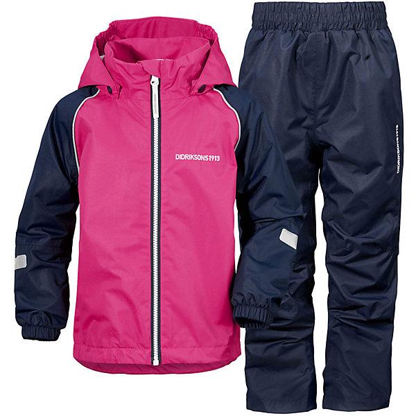 Комплект: куртка и брюки TRYSIL DIDRIKSONS1913Верхняя одежда<br>Характеристики товара:<br><br>• цвет: синий/розовый;<br>• внешняя ткань: 100% Полиэстер. Пропитка - WR finish (без фторуглерода); <br>• подкладка: 100% полиэстер трикотаж;<br>• водонепроницаемость: 5000 мм.<br>• паропроводимость: 5000 г/м2/24ч <br>• температурный режим: от +5 до +20 С;<br>• сезон: демисезон;<br>• спецобработка внутренних поверхностей;<br>• полная защита  тела верхней и нижней  частей тела;<br>• 4-х-сторонний стретч, эластичный трикотаж;<br>•Регулируемый низ куртки<br>• защита подбородка<br>• капюшон отстёгивающийся<br>• скрытый шов - можно увеличить размер<br>• фликеры-светоотражатели<br>• страна бренда: Швеция.<br><br>Костюм для девочки «TRYSIL» от производителя DIDRIKSONS1913 - Детский мембранный костюм DIDRIKSONS TRYSIL на весну и холодное лето. Костюм дышит, не промокает, не продувается. Отличный выбор для подвижных детей! Выполнен в универсальном сочетании цветов, сочетается с большим количеством обуви. Вещи из комплекта легко комбинируюся по отдельности с другой оеждой.<br><br>DIDRIKSONS 1913 (Швеция) - ведущий европейский производитель функциональной одежды для города, туризма, активного отдыха на природе и спорта. Непромокаемая одежда Didriksons очень проста в уходе. Загрязнения легко удаляются влажной губкой или под струей воды. <br><br>Костюм «TRYSIL» от бренда DIDRIKSONS1913 (Дидриксон1913) можно купить в нашем интернет-магазине.<br>Ширина мм: 356; Глубина мм: 10; Высота мм: 245; Вес г: 519; Цвет: фуксия; Возраст от месяцев: 12; Возраст до месяцев: 15; Пол: Унисекс; Возраст: Детский; Размер: 80,140,130,120,110,100,90; SKU: 7797686;