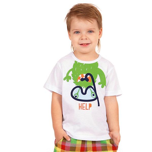Футболка АпрельФутболки, поло и топы<br>Характеристики товара:<br><br>• цвет: белый<br>• состав ткани: 100% хлопок<br>• сезон: лето<br>• короткие рукава<br>• яркий принт<br>• страна бренда: Россия<br><br>Хлопковая футболка для детей от известного бренда Апрель может стать удобной базовой вещью для гардероба. Мягкая футболка для ребенка украшена стильным принтом. Эта детская футболка сделана из качественного дышащего материала, безопасного для детей.<br><br>Футболку Апрель можно купить в нашем интернет-магазине.<br>Ширина мм: 190; Глубина мм: 74; Высота мм: 229; Вес г: 236; Цвет: белый; Возраст от месяцев: 6; Возраст до месяцев: 9; Пол: Унисекс; Возраст: Детский; Размер: 74,98,92,86,80; SKU: 7799371;