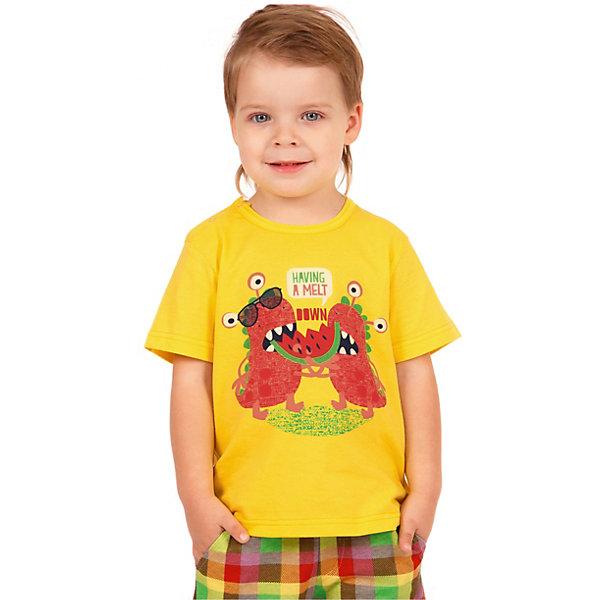 Футболка АпрельФутболки, поло и топы<br>Характеристики товара:<br><br>• цвет: желтый<br>• состав ткани: 100% хлопок<br>• сезон: лето<br>• короткие рукава<br>• яркий принт<br>• страна бренда: Россия<br><br>Яркая детская футболка сшита из легкого дышащего материала, её швы тщательно обработаны. Принтованная футболка для детей от российского бренда Апрель - удобная, модная и практичная вещь. Эта футболка для ребенка декорирована эффектным принтом. <br><br>Футболку Апрель можно купить в нашем интернет-магазине.<br>Ширина мм: 190; Глубина мм: 74; Высота мм: 229; Вес г: 236; Цвет: желтый; Возраст от месяцев: 6; Возраст до месяцев: 9; Пол: Унисекс; Возраст: Детский; Размер: 74,98,92,86,80; SKU: 7799377;