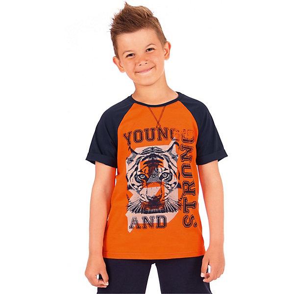 Футболка АпрельФутболки, поло и топы<br>Характеристики товара:<br><br>• цвет: оранжевый<br>• состав ткани: 92% хлопок, 8% лайкра<br>• сезон: лето<br>• короткие рукава<br>• с рисунком<br>• страна бренда: Россия<br><br>Яркая футболка для детей - симпатичная и практичная повседневная вещь. Эта футболка для ребенка от популярного бренда Апрель декорирована оригинальным принтом. Материал этой детской футболки - преимущественно дышащий гипоаллергенный хлопок, который позволит создать комфортные условия для тела. <br><br>Футболку Апрель можно купить в нашем интернет-магазине.<br>Ширина мм: 190; Глубина мм: 74; Высота мм: 229; Вес г: 236; Цвет: разноцветный; Возраст от месяцев: 120; Возраст до месяцев: 132; Пол: Унисекс; Возраст: Детский; Размер: 146,116,122,128,134,140; SKU: 7799971;