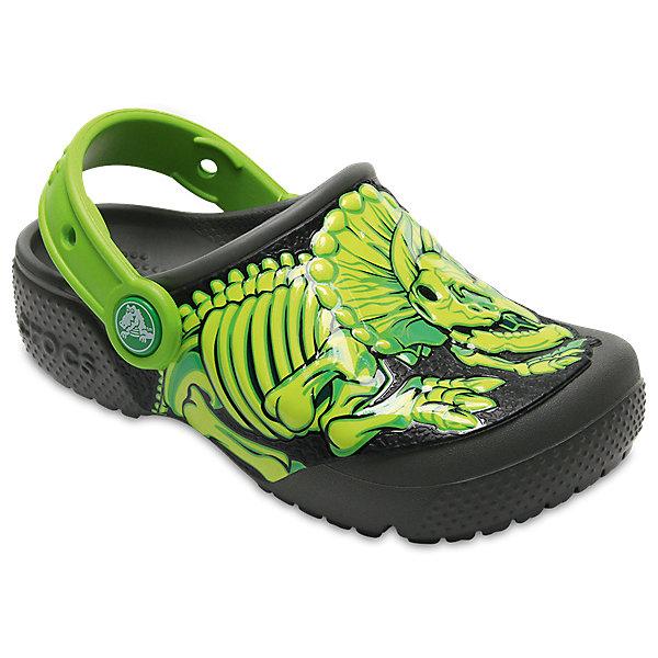 Сабо  CROCS для мальчикаПляжная обувь<br>Характеристики товара:<br><br>• цвет: черный/салатовый;<br>• состав: 100% полимер Croslite™;<br>• сезон: лето;<br>• температурный режим: от +20;<br>• модель: закрытые;<br>• дизайнерский рисунок;<br>• застежка: пяточный ремешок;<br>• непромокаемые;<br>• вентилируемые;<br>• рельефный рисунок подошвы;<br>• анатомические;<br>• светоотражающий логотип в области пятки;<br>• страна бренда: США<br><br>Сабо для мальчика Crocs  придутся по душе вашему ребенку, ведь они выполнены в яркой комбинации цветов с изображение реалистичного динозавра. Такие сабо не оставят никого равнодушным. <br><br>Модель полностью выполнена из полимерного материала. Съемный пяточный ремешок, оформленный названием бренда, предназначен для фиксации стопы при ходьбе. Рифление на подошве гарантирует идеальное сцепление с любой поверхностью. Такие сабо яркого розового цвета - отличное решение для каждодневного использования!<br><br>Благодаря материалу Croslite обувь невероятно легкая, мягкая и удобная. Материал Croslite - бактериостатичен, препятствует появлению неприятных запахов и легок в уходе: быстро сохнет и не оставляет следов на любых поверхностях. <br><br>Сабо для мальчика CROCS (Крокс), зеленые, можно купить в нашем интернет-магазине.<br>Ширина мм: 225; Глубина мм: 139; Высота мм: 112; Вес г: 290; Цвет: серый; Возраст от месяцев: 12; Возраст до месяцев: 15; Пол: Мужской; Возраст: Детский; Размер: 21,34/35,33/34,31/32,30,29,28,27,26,25,24,23,22; SKU: 7841234;