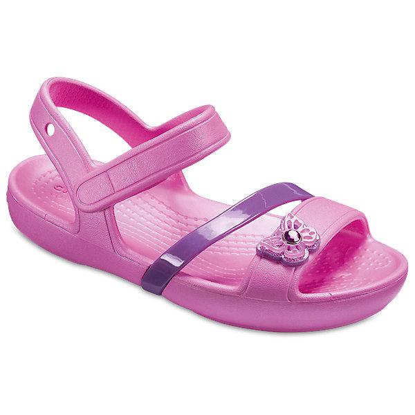 Сандалии  CROCS для девочкиПляжная обувь<br>Характеристики товара:<br><br>• модель: Crocs Lina Sandal K<br>• цвет: розовый;<br>• состав: 100% полимер Croslite™;<br>• сезон: лето;<br>• температурный режим: от +20;<br>• модель: открытые;<br>• дизайнерские вставки;<br>• застежка: ремешок на липучке;<br>• непромокаемые;<br>• рельефный рисунок подошвы;<br>• анатомические;<br>• светоотражающий логотип в области пятки;<br>• страна бренда: США<br><br>Прелестные сандалии от Crocs очаруют вашу девочку с первого взгляда! Такие сандалии принесут комфорт и радость вашему ребенку, ведь они выполнены в ярком розовом цвете с красивой вставкой-бабочкой.<br><br>Благодаря материалу Croslite обувь невероятно легкая, мягкая и удобная. Материал Croslite - бактериостатичен, препятствует появлению неприятных запахов и легок в уходе: быстро сохнет и не оставляет следов на любых поверхностях. <br><br>Верх модели оформлен отверстиями, которые можно использовать для украшения джибитсами. Под воздействием температуры тела обувь принимает форму стопы. Ремешок с застежкой-липучкой, оформленный фирменным логотипом, обеспечивает надежную фиксацию модели на ноге. Рифленое основание подошвы гарантирует идеальное сцепление с любой поверхностью. <br><br>Открытые сандалии для девочки CROCS  (Крокс), розовые, можно купить в нашем интернет-магазине.<br>Ширина мм: 219; Глубина мм: 154; Высота мм: 121; Вес г: 343; Цвет: розовый; Возраст от месяцев: 48; Возраст до месяцев: 60; Пол: Женский; Возраст: Детский; Размер: 28/29,26,25,24,23,22,21,27/28,34/35,33/34,31/32,30/31,29/30; SKU: 7841811;
