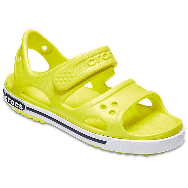 Сандалии  CROCSПляжная обувь<br>Характеристики товара:<br><br>• модель: Crocband II Sandal PS<br>• цвет: салатовый;<br>• состав: 100% полимер Croslite™;<br>• сезон: лето;<br>• температурный режим: от +20;<br>• модель: открытые;<br>• застежка: ремешок на липучке;<br>• непромокаемые;<br>• рельефный рисунок подошвы;<br>• анатомические;<br>• светоотражающий логотип в области пятки;<br>• страна бренда: США<br><br>Прелестные сандалии от Crocs очаруют вашего ребенка с первого взгляда! Модель выполнена из полимера Croslite и дополнена по периметру подошвы контрастной полоской. Такие сандалии принесут комфорт и радость вашему ребенку.<br><br>Благодаря материалу Croslite обувь невероятно легкая, мягкая и удобная. Материал Croslite - бактериостатичен, препятствует появлению неприятных запахов и легок в уходе: быстро сохнет и не оставляет следов на любых поверхностях. <br><br>Верх модели оформлен отверстиями, которые можно использовать для украшения джибитсами. Под воздействием температуры тела обувь принимает форму стопы. Ремешок с застежкой-липучкой, оформленный фирменным логотипом, обеспечивает надежную фиксацию модели на ноге. Рельефная поверхность верхней части подошвы комфортна при движении. Рифленое основание подошвы гарантирует идеальное сцепление с любой поверхностью. <br><br>Открытые сандалии CROCS  (Крокс) можно купить в нашем интернет-магазине.<br>Ширина мм: 219; Глубина мм: 154; Высота мм: 121; Вес г: 343; Цвет: желтый; Возраст от месяцев: 12; Возраст до месяцев: 15; Пол: Унисекс; Возраст: Детский; Размер: 28/29,27/28,26,25,24,23,34/35,33/34,31/32,30/31,29/30,22,21; SKU: 7892303;